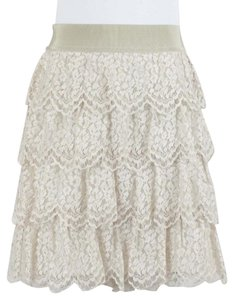 Ann Taylor Tan Beige Tiered Lace Straight B05 Skirt