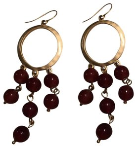 Target Cranberry Drop Gold Tone Earrings