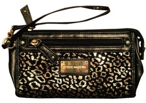 Steve Madden Cheetah Wristlet in Black & Gold