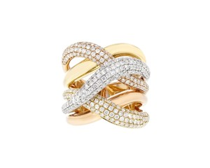 Other 1.92ct Diamond 18k Multi Tone Gold Crossover Ring