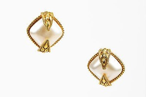 Dominique Aurientis Dominique Aurientis Gold Tone Oversized Faux Pearl Cocktail Clip On Earrings