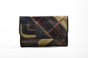 Carlos Falchi Brown Black Tan Multi-Color Clutch