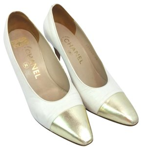 Chanel White Leather Pumps