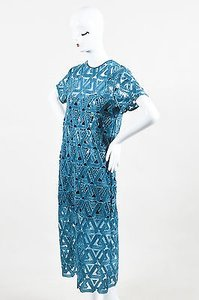 Teal Maxi Dress by self-portrait Navy Blue Geometric Crochet Ss Sequined Maxi