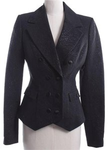 Rachel Zoe Fitted Jacquard Chic Professional Black Blazer