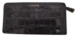 Coach Coach Madison Skinny Wallet Embossed Croc Black Violet