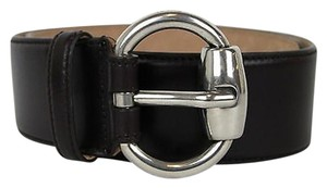 Gucci Gucci,Leather,Belt,Whorsebit,Buckle,Dark,Brown