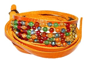 Nakamol Rust Leather Wrap Bracelet - Multi-Color Beads