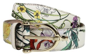 Gucci New Gucci White Leather Floral Belt w/Stirrup Buckle 80/32 309906 9064