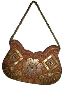 Urban Outfitters Beaded Sequins Jewels Boho Gypsy Satchel in Gold