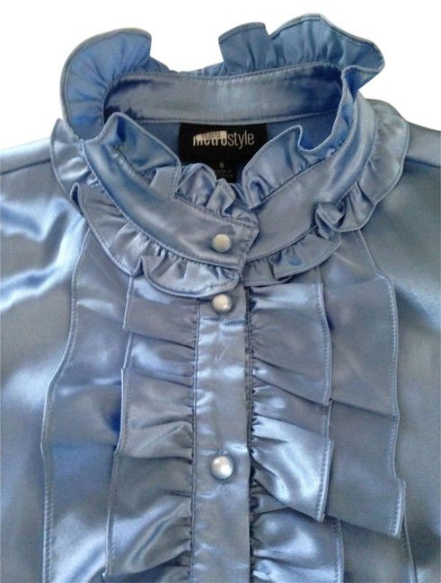 Preload https://item4.tradesy.com/images/metro-style-blue-shiny-charmeuse-blouse-size-8-m-180213-0-0.jpg?width=400&height=650