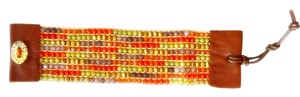 Nakamol Beaded Leather Cuff Bracelet - Gold/Green/Orange Mix