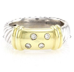 David Yurman size 5, sterling silver, 14k yellow gold, diamond ring