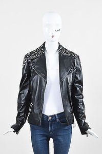 Escada Silver Tone Nappa Leather Studded Ls Moto Motorcycle Jacket
