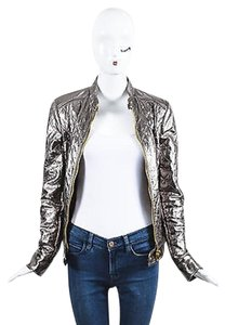 Dolce&Gabbana Metallic Leather Ls Quilted Moto Silver Jacket