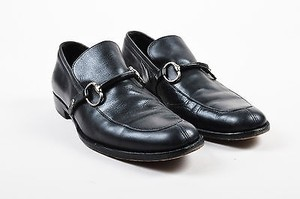 Mens Gucci Black Silver Tone Leather Horse Bit Buckle Heeled Loafers