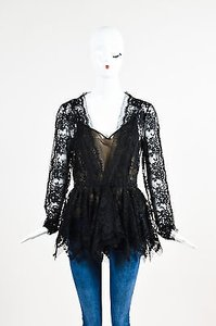 Oscar de la Renta Floral Mesh Lace Long Sleeve Peplum Top Black