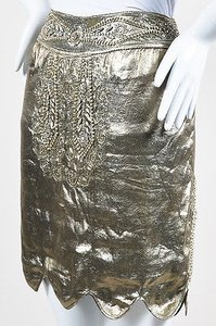 Ralph Lauren Collection Tone Silk Beaded Maureen Skirt Gold