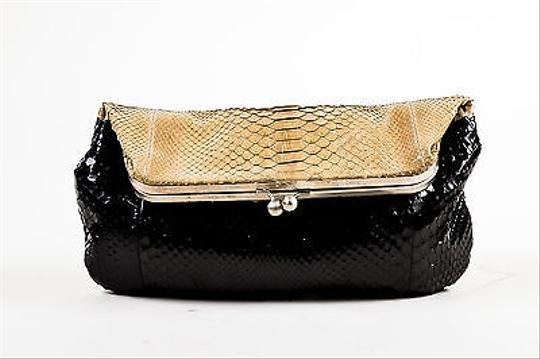 devi kroell beige black snakeskin foldover clutch bag. Black Bedroom Furniture Sets. Home Design Ideas