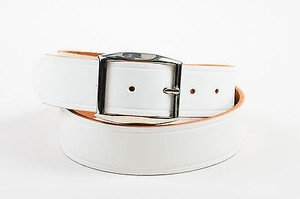 Maison Margiela Maison Martin Margiela White Silver Tone Leather Belt 90