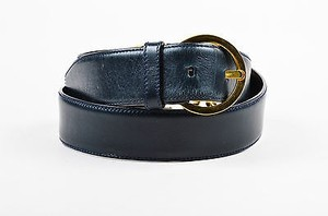 Salvatore Ferragamo Salvatore Ferragamo Black Gold Tone Leather Logo Horseshoe Link Belt 80