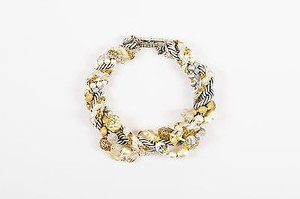 Miriam Haskell Miriam Haskell Silver Gold Tone Cord Faux Pearl Crystal Bead Statement Necklace