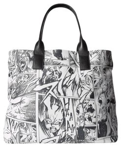 MCQ by Alexander McQueen Shopper Shoudler Tote in Black White