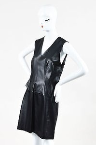 Vince short dress Black Leather V Neck on Tradesy
