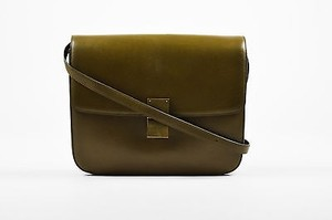 Céline Olive Leather Large Box Shoulder Bag
