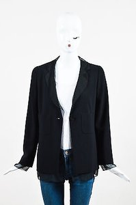 Chanel Vintage Boutique 98a Wool Chiffon Trim Patch Black Jacket
