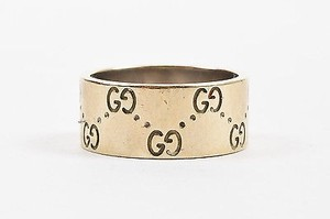 Gucci Gucci 18k Yellow Gold Gg Engraved Icon Medium Band Ring