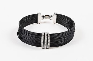 Alorna Alor Black Stainless Steel 18k White Gold Diamond Cable Bracelet