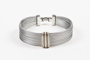 Alorna Alor Gray Stainless Steel 18k Yellow Gold Diamond Cable Bracelet