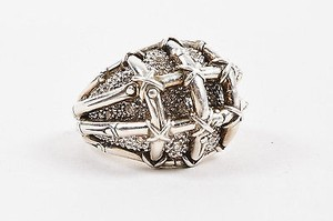 John Hardy John Hardy Sterling Silver Diamond Embellished Bamboo Cocktail Ring 6.25