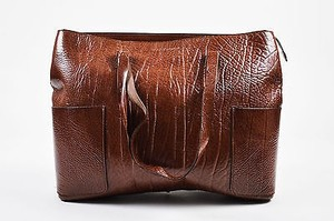Brunello Cucinelli Patent Grain Leather Oversized Tote in Brown