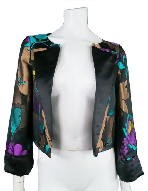 Escada Tuxedo Floral Jewel Tones Teal Orchid Multi Jacket