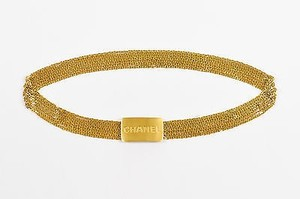 Chanel Vintage Chanel 96a Gold Tone Metal Strand Chain Link And Logo Plate Belt