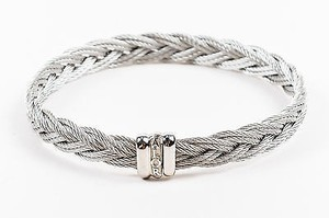 Alorna Alor Stainless Steel Gray Braided Twist Cable Bracelet