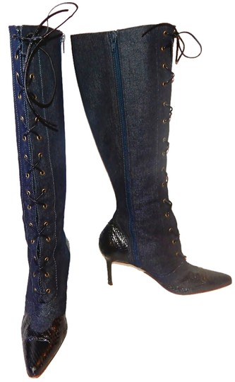 Dior Knee High Denim Snakeskin Lace Up Christian Tall Blue Boots