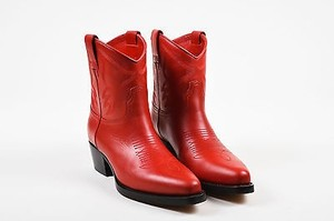 Valentino Leather Top Stitch Western Pointed Red Boots