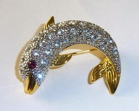 Austrian Crystal NEW Austrian Crystal Sparkling Signed DOLPHIN PIN/BROOCH Made in USA Image 1
