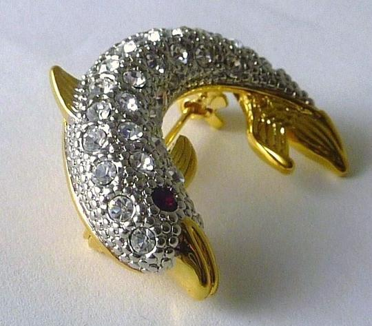 Austrian Crystal NEW Austrian Crystal Sparkling Signed DOLPHIN PIN/BROOCH Made in USA Image 4
