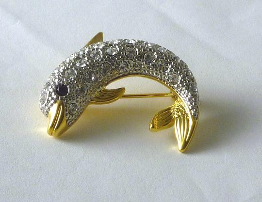 Austrian Crystal NEW Austrian Crystal Sparkling Signed DOLPHIN PIN/BROOCH Made in USA
