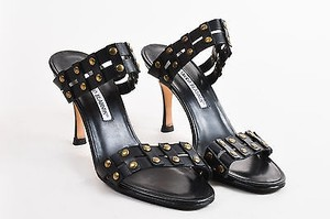 Manolo Blahnik Gold Black Sandals