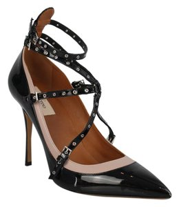 Valentino Nude Patent Caged Black Pumps