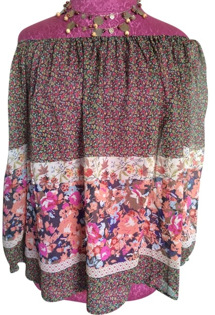Anthropologie Floral Silk Sheer Top Black & White with Multi-Color Flowers