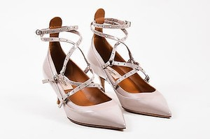 Valentino Patent Leather Caged Love Latch Beige Pumps