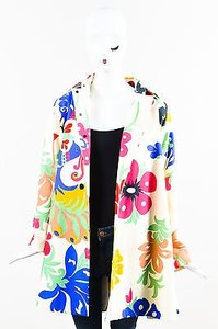 Victoria, Victoria Beckham Cream Canvas Floral Multi-Color Jacket