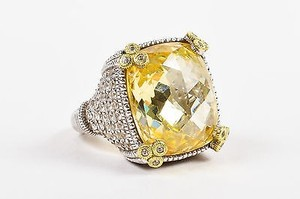 Judith Ripka Judith Ripka Sterling Silver 18k Gold Canary Crystal Diamond Monaco Ring
