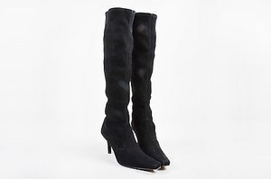 Stuart Weitzman Suede Leather Stretch Knee High Heeled B Black Boots
